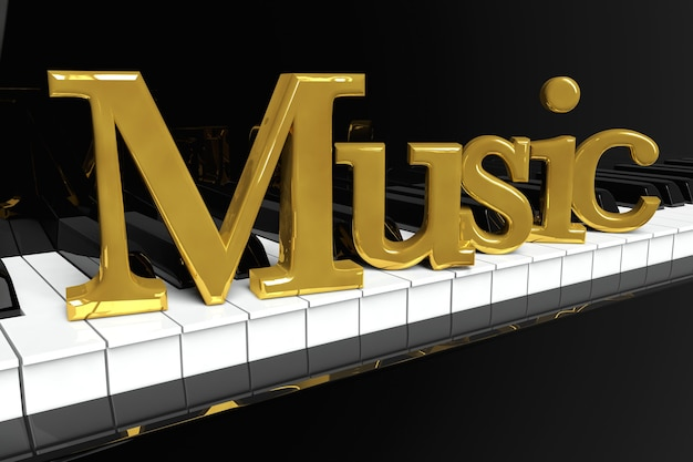音楽のコンセプト。金色の音楽サインが付いた黒いピアノの鍵盤。