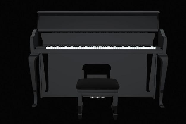 音楽のコンセプト。黒の背景に黒のピアノ
