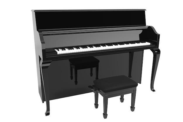 音楽のコンセプト。白い背景の上の黒いピアノ