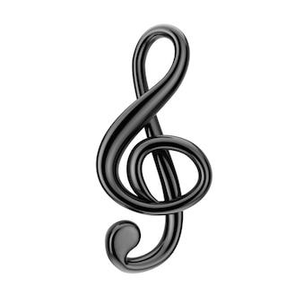 음악 개념입니다. 흰색 바탕에 검은 고음 음자리표 기호입니다. 3d 렌더링