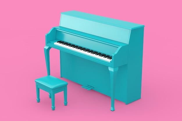 音楽のコンセプト。ピンクの背景にデュオトーンスタイルの青いピアノ。 3dレンダリング