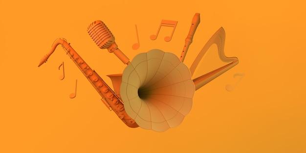 비닐 레코드 음표 하프 색소폰 및 마이크 복사 공간이 있는 음악 개념 축음기