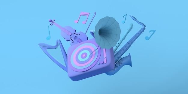 음악 개념 비닐 레코드 음표 하프 색소폰 및 바이올린 복사 공간이 있는 축음기