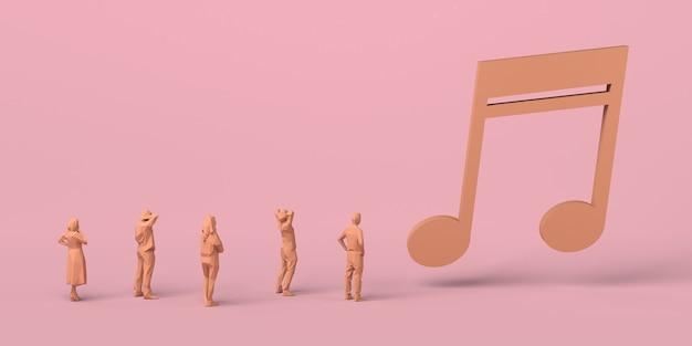 Музыкальная концепция. люди смотрят на гигантскую музыкальную ноту. скопируйте пространство. 3d иллюстрации.