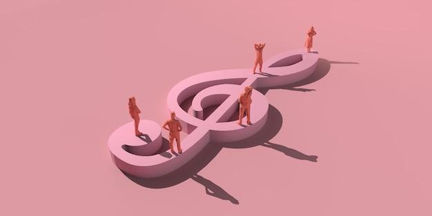 Музыкальная концепция. люди на гигантском скрипичном ключе. скопируйте пространство. 3d иллюстрации.