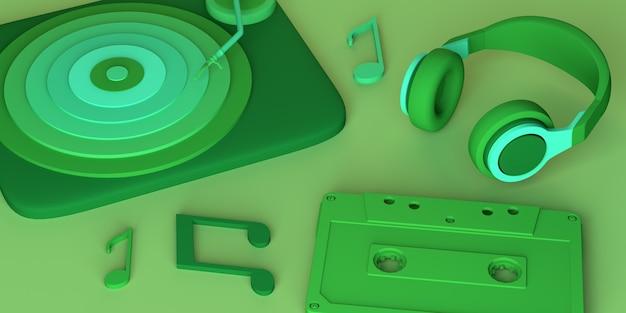 Музыкальная концепция. фортепиано с наушниками, нотами и кассетой. скопируйте пространство. 3d иллюстрации.