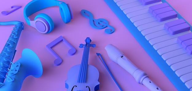 음악 개념입니다. 헤드폰, 음표 및 악기가 있는 피아노. 공간을 복사합니다. 3d 그림입니다.