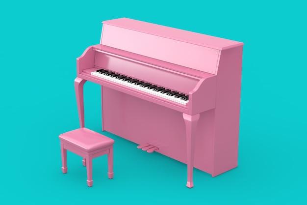 音楽のコンセプト。青の背景にデュオトーンスタイルのピンクのピアノ。 3dレンダリング