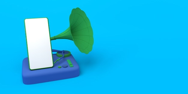 音楽のコンセプトスマートフォンを再生するレトロなビニール蓄音機コピースペース3dイラスト