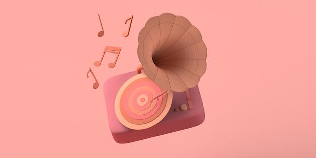 음악 개념 음표 복사 공간 3d 일러스트와 함께 레트로 비닐 축음기