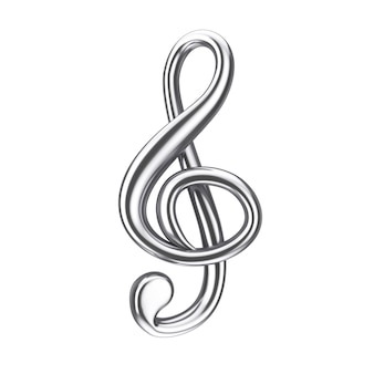 음악 개념입니다. 흰색 바탕에 실버 고음 음자리표 기호입니다. 3d 렌더링