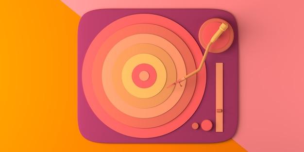 音楽のコンセプト。上からのビニールレコード。スペースをコピーします。 3dイラスト。