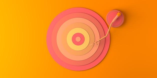 音楽のコンセプト。音楽を演奏するビニールレコード。スペースをコピーします。 3dイラスト。