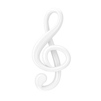 음악 개념입니다. 흰색 배경에 클레이 스타일의 흰색 고음 음자리표 기호. 3d 렌더링