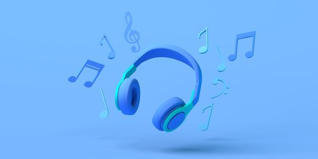 헤드폰과 음표가 있는 음악 개념. 공간을 복사합니다. 3d 그림입니다.