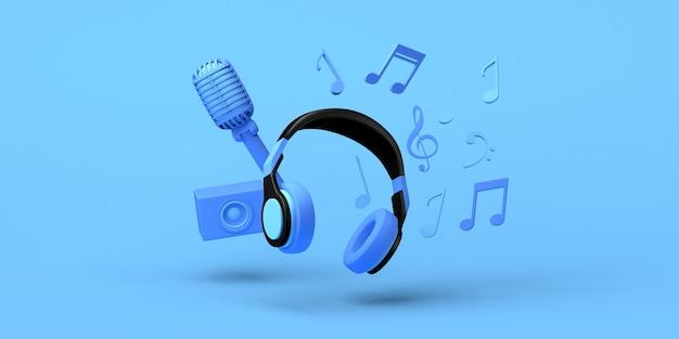 Музыкальная концепция с наушниками, громкоговорителем, микрофоном и музыкальными нотами. скопируйте пространство. 3d иллюстрации.