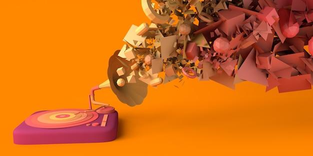 ビニール蓄音機のイジェクトジオメトリを使用した音楽コンセプトコピースペース3dイラスト