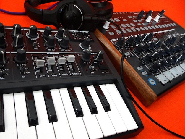 Electronic musical instrument or audio mixer or sound equalizer (analog modular synthesizer