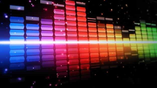 음악 이퀄라이저 바. 화면 검은 배경에 오디오 파형 이퀄라이저. 모니터의 음악 또는 음파. 다채로운 사운드 비주얼 라이저 개요. 그라디언트 스펙트럼 음악 그래프. 디지털 그래프는 어둠 속에서 빛납니다.