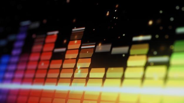 음악 이퀄라이저 바. 화면 검정색 배경에 오디오 파형 이퀄라이저입니다. 모니터의 음악 또는 음파. 다채로운 사운드 시각화 개요입니다. 그라디언트 스펙트럼 음악 그래프. 디지털 그래프는 어둠 속에서 빛납니다.