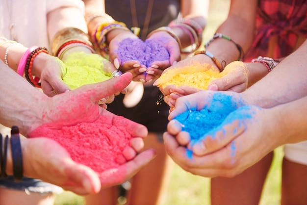 Music festival with colour powders