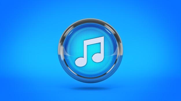 Музыка глянцевый значок 3d-рендеринга