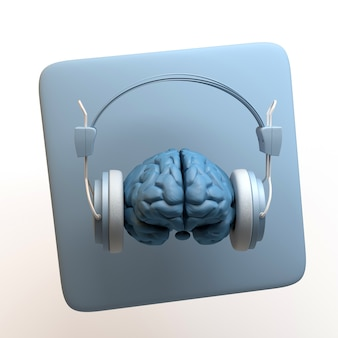 Music icon with brain with headphones isolated on white background. app. 3d illustration.