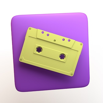 Music icon with cassette on isolated white background. 3d illustration. app.