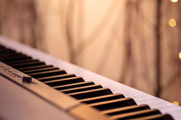 흐린 된 벽에 색된 조명 아래 음악 키.