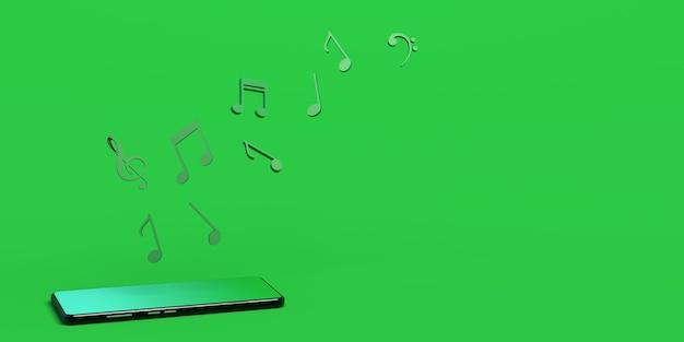Музыкальные ноты, выходящие из смартфона музыка в облаке копирование пространства 3d-иллюстрация