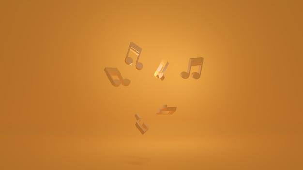 Ноты на желтом фоне 3d-рендеринга