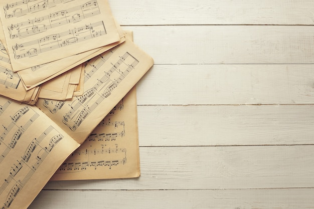 Music notes on papers