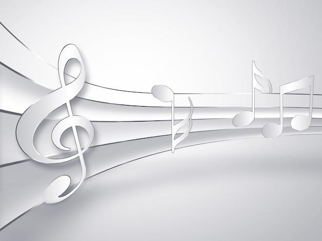Музыкальный бумажный фон с нотами