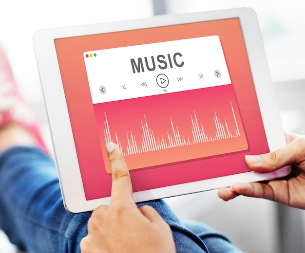 Music player application showing on a digital tablet