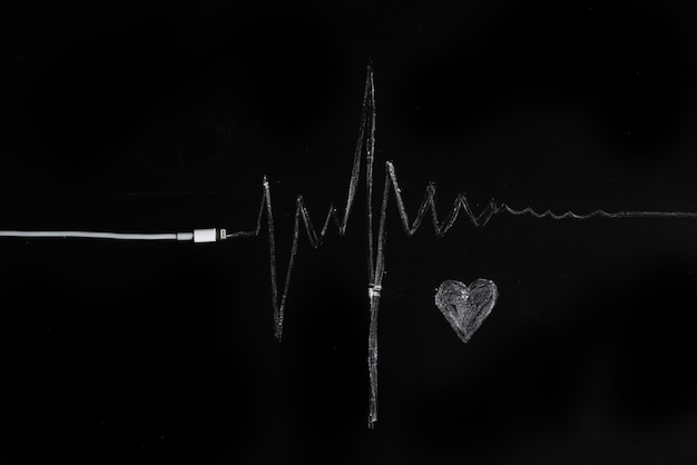 Music, pulse, heart. black background, minimalism.