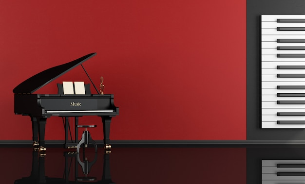 Music room with grand piano