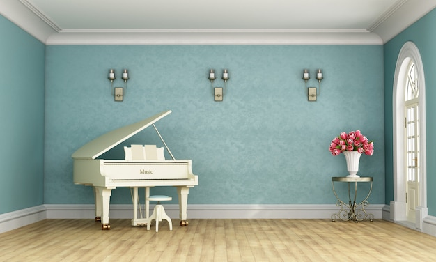 Music room with white grand piano