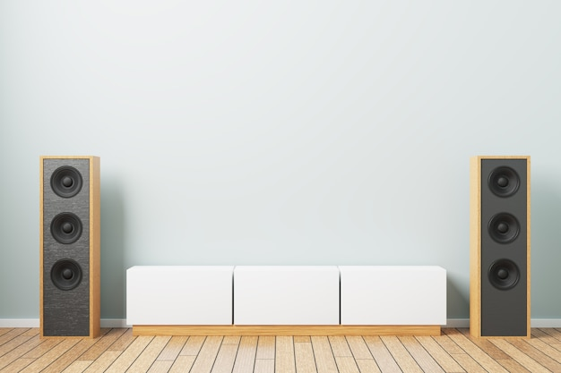 Music speakers with a bedside table in a minimalistic interior. 3d rendering