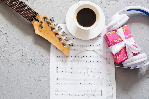 Music supplies with coffee and gift