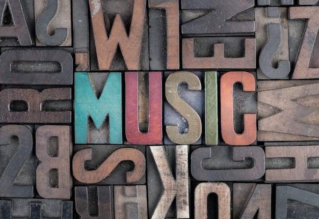 Music word in letterpress printing blocks