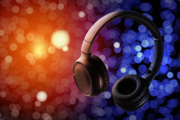 ミュージカルヘッドホン。クラブミュージックのコンセプト。電気音楽。ライブ音楽。音楽ディスクカバー。