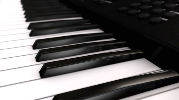 Musical instrument synthesizer its keys close-up