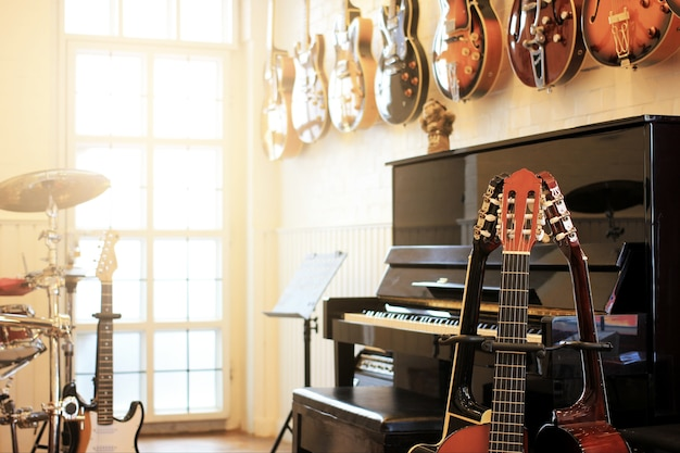 Musical instruments. electric guitars, piano, drums