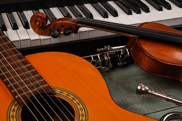 Musical instruments in wooden
