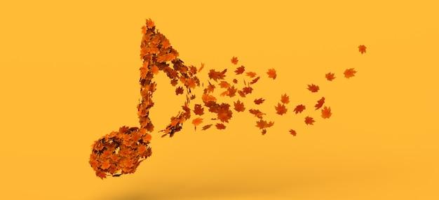 Музыкальная нота, распадающаяся на осенние листья. скопируйте пространство. 3d иллюстрации.