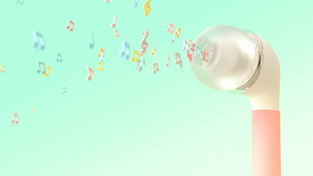 Musical notes bursts from pink earphone