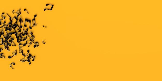 Музыкальные ноты на желтом фоне. скопируйте пространство. 3d иллюстрации.
