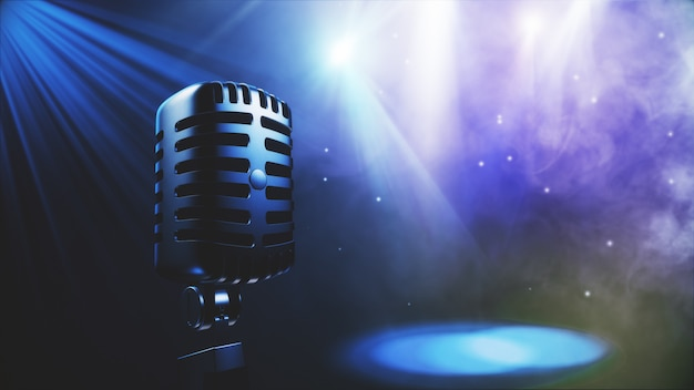 Musical seamless background with vintage microphone 3d illustration