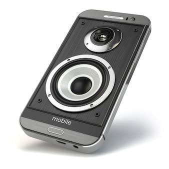 Музыкальный смартфон. музыкальное приложение для мобильного телефона. мобильный телефон и громкоговорители. 3d