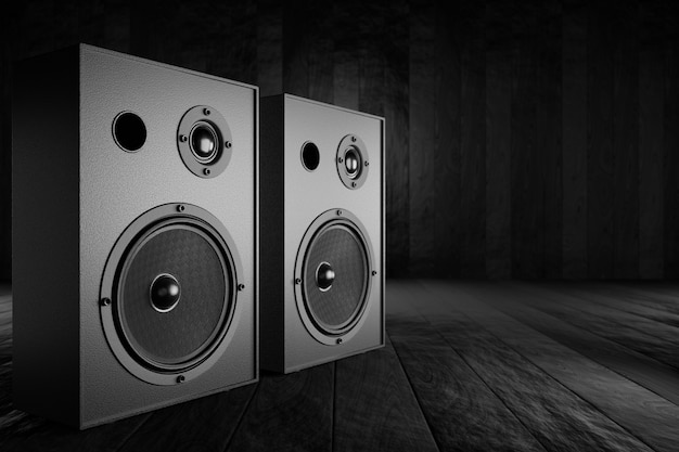 Musical stereo speakers on a table with a dark background. 3d rendering